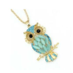 Jewelry - 💎NWT🦉Betsey Johnson Opal & Crystal Owl Necklace